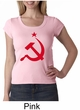 Russian Shirt Hammer and Sickle Red Print Ladies Scoop Neck Shirt