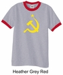 Russian Shirt Hammer and Sickle USSR Adult Ringer Shirt