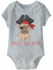 Salty Sea Dog Funny Baby Romper Athletic Heather Infant Babies Creeper