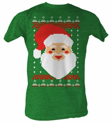 Santa Claus T-Shirt – Santa Head Christmas Holiday Adult Green T-Shirt