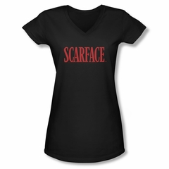 Scarface  Shirt Juniors V Neck Logo Black Tee T-Shirt