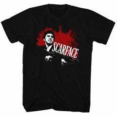 Scarface Shirt Blood Spatter Black T-Shirt
