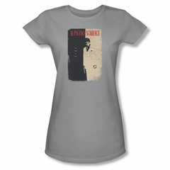 Scarface Shirt Juniors Vintage Poster Silver Tee T-Shirt