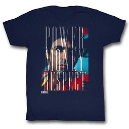 Scarface Shirt Power Money Respect Navy T-Shirt