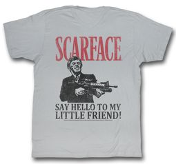 Scarface Shirt Say Hello Adult Grey Tee T-Shirt