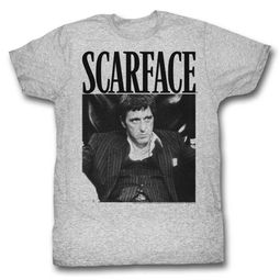 Scarface Shirt Stripped Suit Athletic Heather T-Shirt