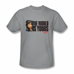 Scarface Shirt The World Is Yours Adult Silver Tee T-Shirt