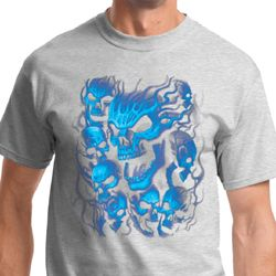 Screaming Blue Skulls Mens Biker Shirts