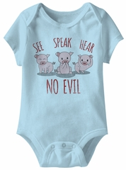 See Speak Hear No Evil Funny Baby Romper Blue Infant Babies Creeper