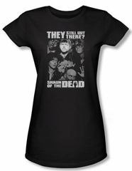 Shaun Of The Dead Juniors T-shirt Still Out There Black Tee Shirt