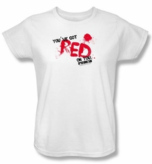 Shaun Of The Dead Ladies T-shirt Movie Red On You White Tee Shirt