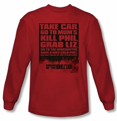 Shaun Of The Dead T-shirt Movie List Adult Red Long Sleeve Shirt