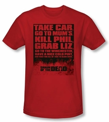 Shaun Of The Dead T-shirt Movie List Adult Red Slim Fit Tee Shirt