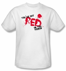 Shaun Of The Dead T-shirt Movie Red On You Adult White Tee Shirt