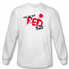 Shaun Of The Dead T-shirt Red On You Adult White Long Sleeve Tee Shirt
