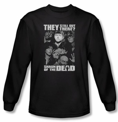Shaun Of The Dead T-shirt Still Out There Adult Black Long Sleeve