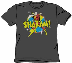 Shazam T-shirt - Power Bolt DC Comics Adult Superhero Charcoal Tee