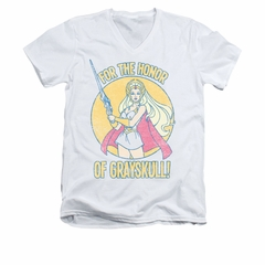 She-Ra Shirt Slim Fit V-Neck Honor Of Grayskull White Tee T-Shirt