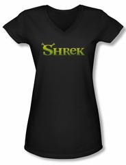 Shrek Shirt Juniors V Neck Logo Black Tee T-Shirt