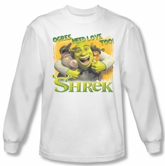 Shrek Shirt Ogres Need Love Long Sleeve White Tee T-Shirt