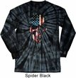 Skull Americana Spider Black Long Sleeve Tie Dye Shirt