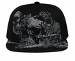 Skull and Flowers Design Hat with Flat Visor - Lackpard Cap - Black