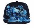 Skull and Flowers Design Hat with Flat Visor - Lackpard Cap - Navy