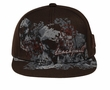 Skull and Flowers Hat with Flat Visor Lackpard Cap Dark Brown