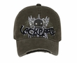 Skull Design 3D Hat with Rhinestones Lackpard Cap Dark Olive Green