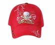 Skull Embroidered 3D Hat – Lackpard Cotton Cap - Red