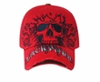 Skull Embroidered Hat - Distressed Visor Lackpard Cap -  Red