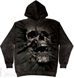 Skull Tearing Through Hoodie Tie Dye Adult Hooded Sweat Shirt Hoody