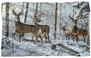 "Snow Deer Microfiber Fleece Blanket - 36"" X 58"""