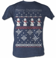 Snowman T-Shirt – Sweater Shirt 2 Christmas Holiday Adult Blue T-Shirt