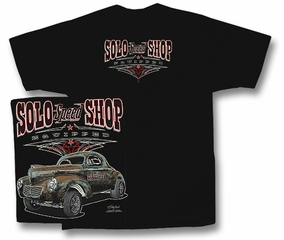 Solo Speed Shop T-Shirt - Willy's Classic Car Adult Black Tee Shirt
