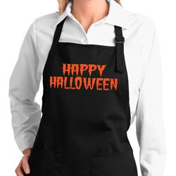 Spooky Happy Halloween Ladies Full Length Apron with Pockets