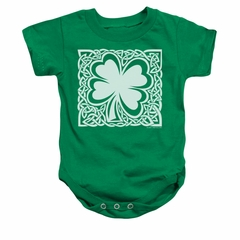 St. Patrick's Day Baby Romper Celtic Clover Kelly Green Infant Babies Creeper