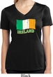 St Patrick's Day Distressed Ireland Flag Ladies Dry Wicking V-neck