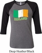 St Patrick's Day Distressed Ireland Flag Ladies Raglan Shirt