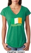 St Patrick's Day Distressed Ireland Flag Ladies Tri Blend V-Neck Shirt