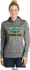 St Patrick's Day Ireland Drinking Team Ladies Black Dry Wicking Hoodie