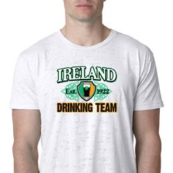 St Patrick's Day Ireland EST 1922 Drinking Team Mens Burnout Shirt