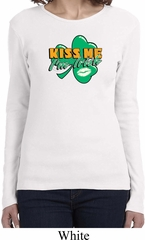 St Patrick's Day Kiss Me I'm Irish Ladies Long Sleeve Shirt