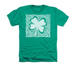 St. Patrick's Day Shirt Celtic Clover Adult Heather Kelly Green Tee T-Shirt