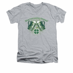 St. Patrick's Day Shirt Slim Fit V Neck Green Beer Athletic Heather Tee T-Shirt