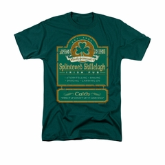 St. Patrick's Day Shirt Splintered Shillelagh Adult Hunter Green Tee T-Shirt