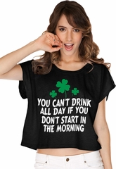 St Patricks Day Drink All Day Ladies Boxy Tee