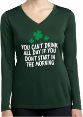 St Patricks Day Drink All Day Ladies Dry Wicking Long Sleeve