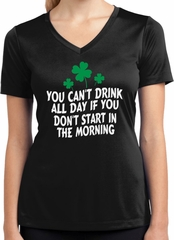 St Patricks Day Drink All Day Ladies Dry Wicking V-neck