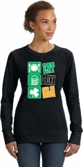 St Patricks Day Eat Drink Be Irish Ladies Crewneck Sweatshirt
